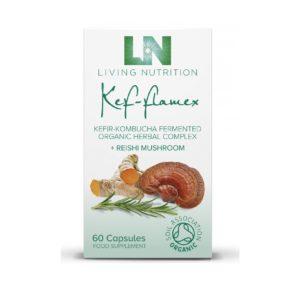Living Nutrition Kef-Flamex 60 kaps. Fermentoitu yrtti-maitohappobakteerivalmiste. Luonnollista tukea kokonaisvaltaiseen hyvinvointiin ja terveyteen.